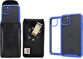 product image for Turtleback Tough Defense Case/Pouch Combo Designed for New iPhone 11 Pro (2019) 5.8 Inch Military Grade Drop Tested Ultra Clear Back Fitted in Leather Holster Heavy Duty Rotating Clip-Vertical/Blue