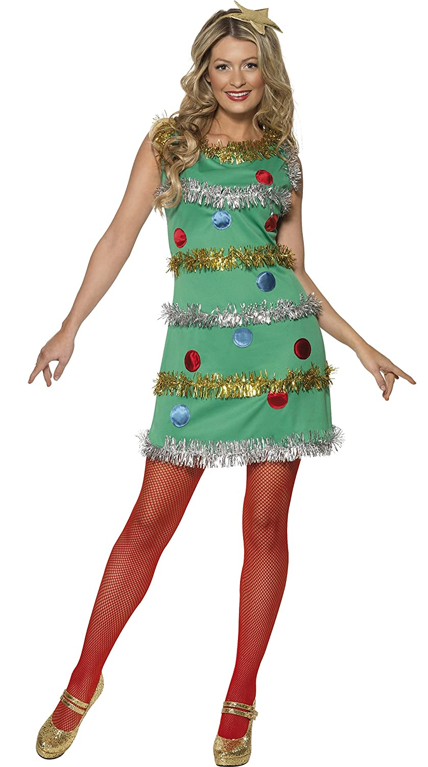 3d2cd76069b8 Green tank dress has gold and silver tinsel attached to the front. Red and  blue glitter ornament shapes are printed on the front