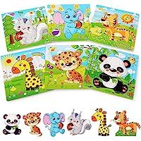 BelleStyle Rompecabezas de Madera, 6x9 Piezas Puzzles de Madera, Rompecabezas de Animales Montessori Juguete…