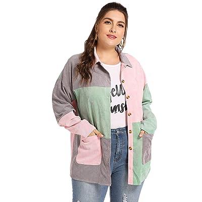 Milumia Women Plus Size Colorblock Zipper Long Sleeve Corduroy Pocket Jacket: Clothing
