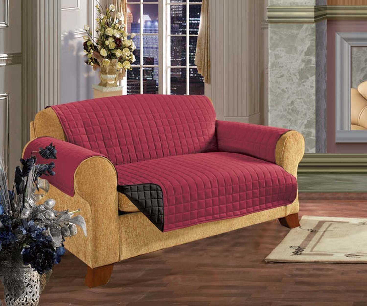 Elegant Comfort QUILTED FURNITURE PROTECTOR for Pet Dog Children Kids -2 TIES TO STOP SLIPPING OFF Treatment Microfiber As soft as Egyptian Cotton Burgundy/Black Love Seat