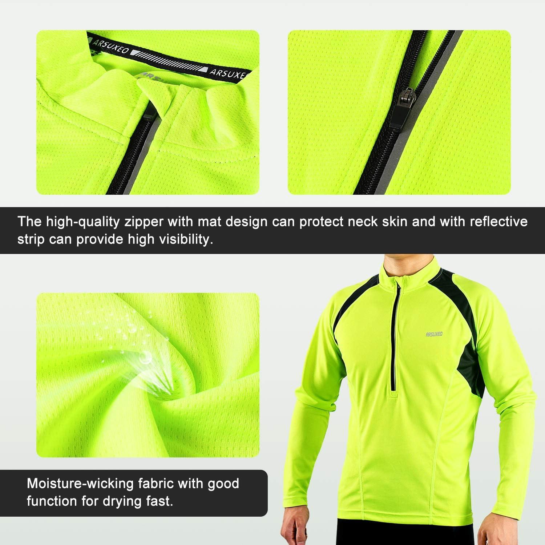 Arsuxeo Men/'S Half Zipper Cycling Jerseys Long Sleeves Mtb Bike Shirts 6031