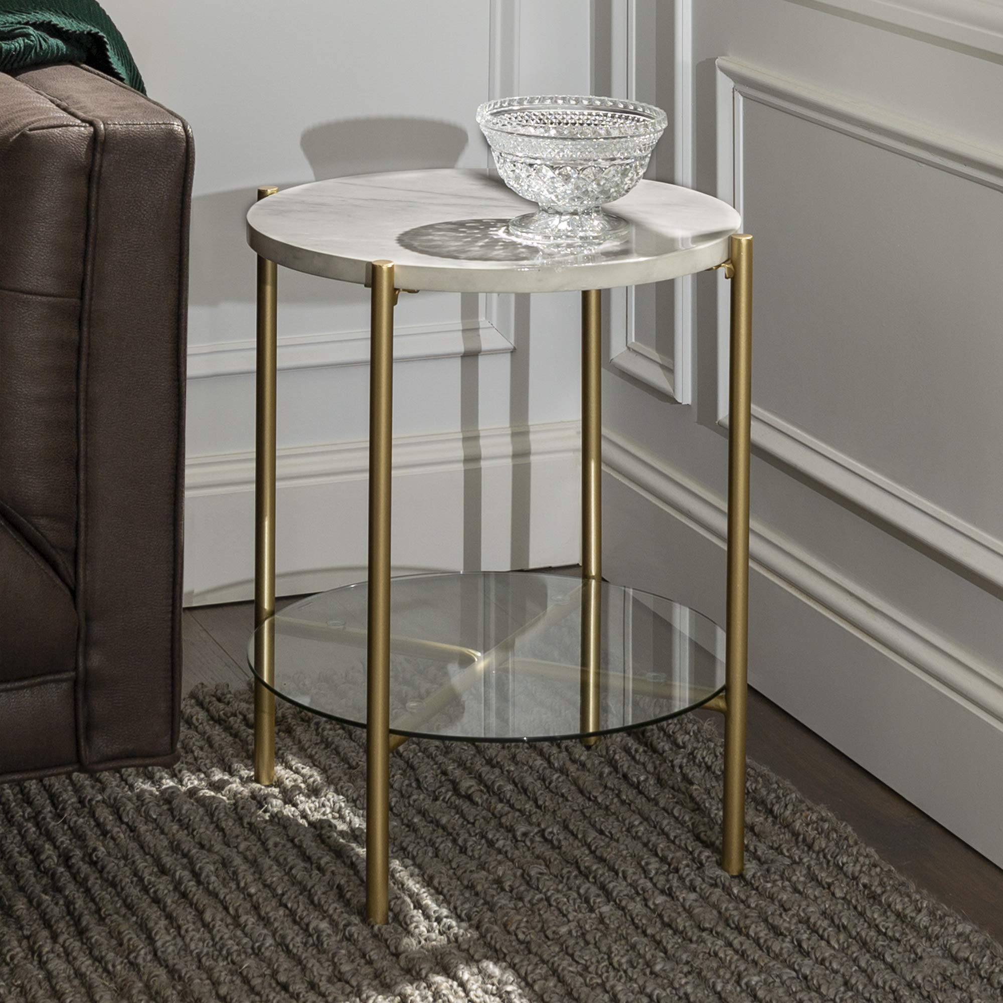 Walker Edison Blaine Mid Century Modern Marble and Glass Round Accent Table , 20 Inch, White Marble and Gold