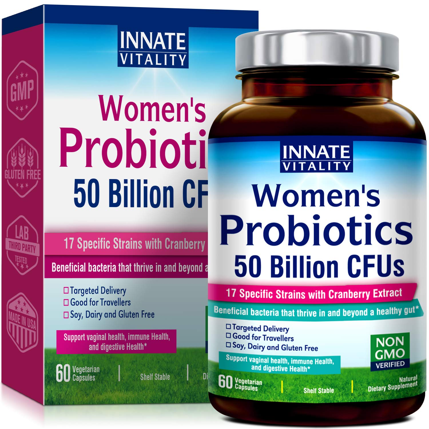 INNATE Vitality Women's Probiotics,50 Billion CFUs,17 Proven Strains, 60 Veggie Caps, Formulated with Prebiotics and Cranberry Extract,Non-GMO, Supports Vaginal, Digestive and Immune Health by Innate Vitality