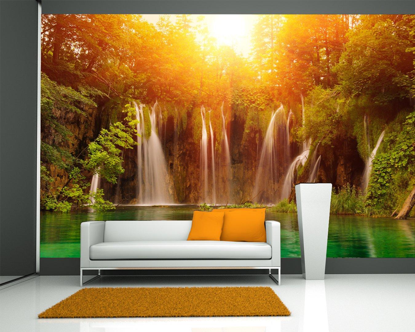 Selbstklebende Fototapete - Wasserfall, Plitvice Kroatien - 230x150 cm - Wandtapete – Poster – Dekoration – Wandbild – Wandposter - Bild – Wandbilder - Wanddeko