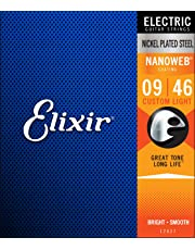 Elixir 6 String Electric Guitar Strings, Custom Light 9-46, Nanoweb Coating