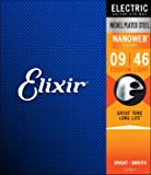 Elixir Strings Electric Guitar Strings w NANOWEB Coating, Custom Light (.009-.046)