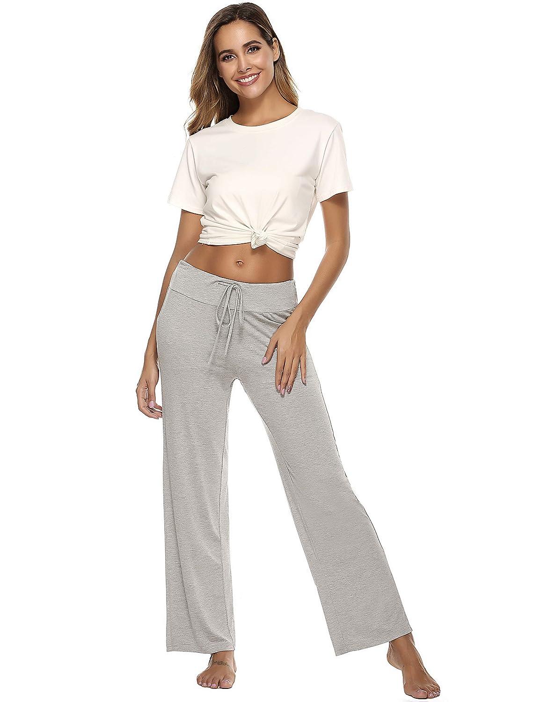 Anjue Womens Pajama Pants Palazzo Casual PJ Pant Lounge Bottoms High Waisted Yoga Pants Wide Leg