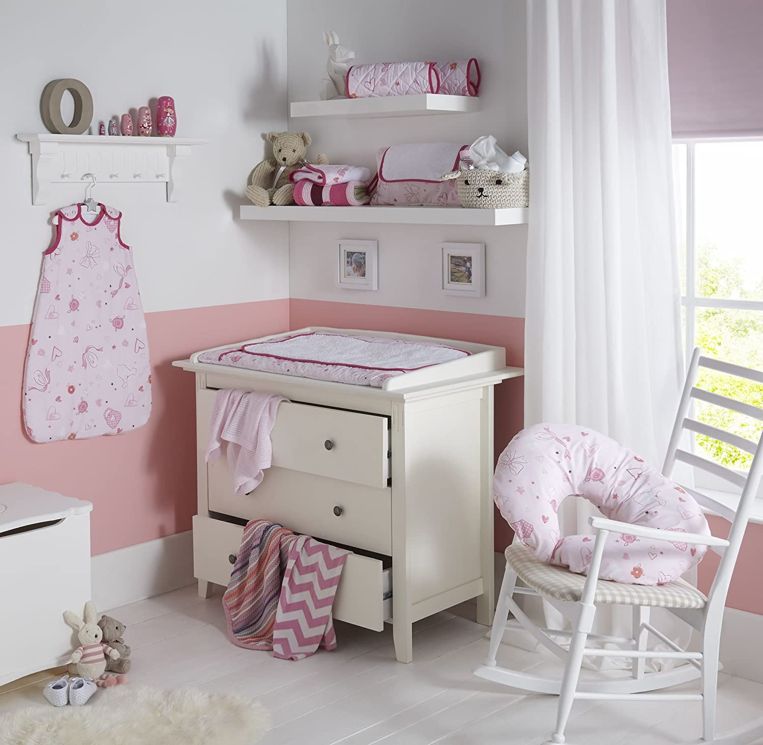 Clair de Lune Tippy Toes Pink Wicker Moses Basket