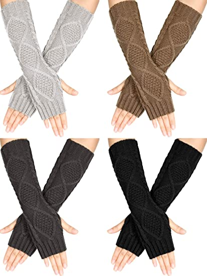 Arm Sleeves Arm Glove Fingerless Cover Long Mittens Winter Wrist Sleeves Warm Compression Sport Gloves For Men Women