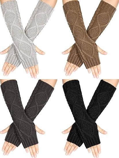 4 Pairs Winter Long Fingerless Gloves Knitted Arm Warmer Elbow Length Gloves Thumb Hole Gloves for Women Girls