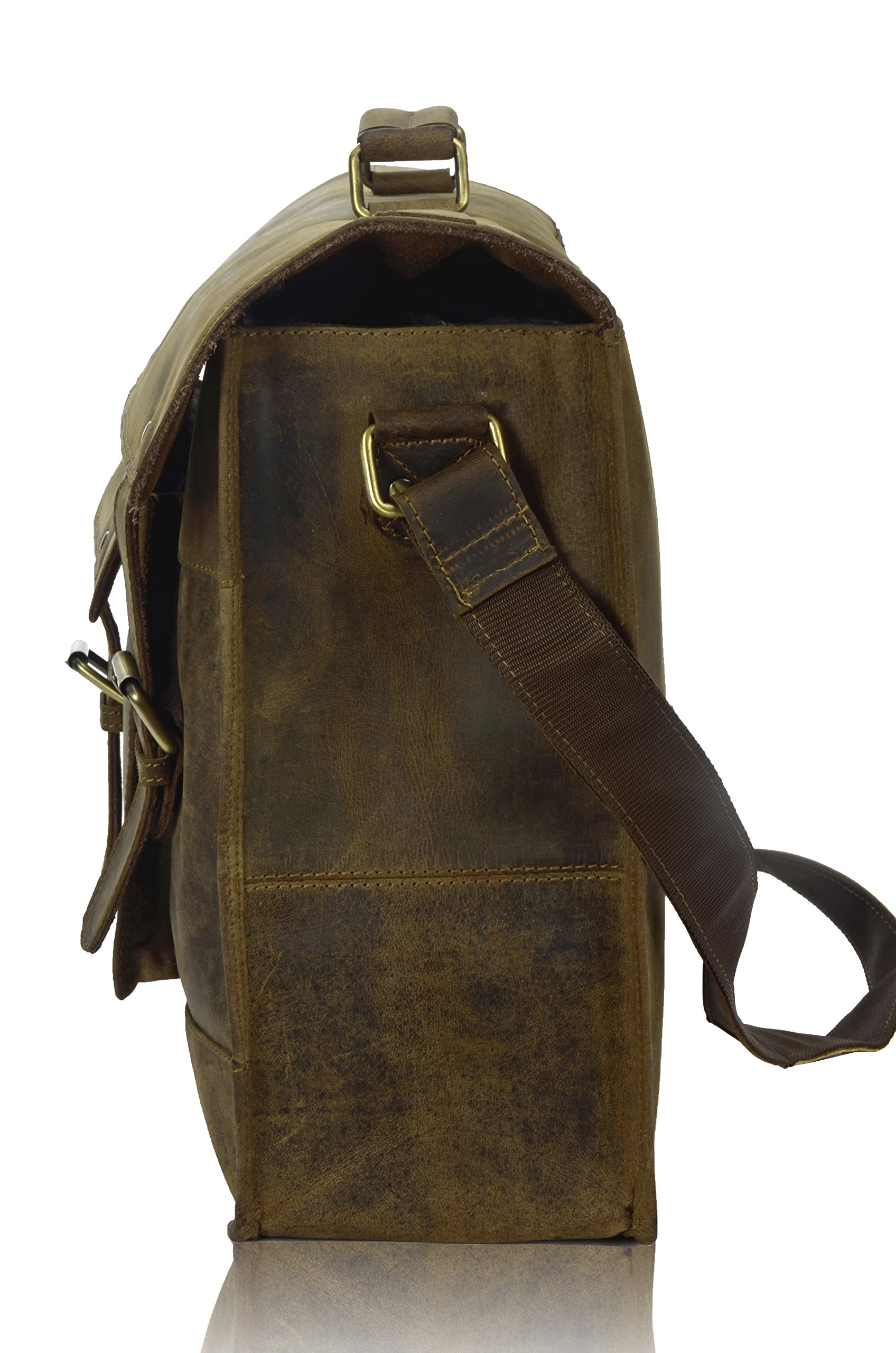TONY'S BAGS - 18 inch Laptop bag - College Bag, Office Bag Laptop Bag Briefcase in Vintage Leather by Tony bags (Image #3)