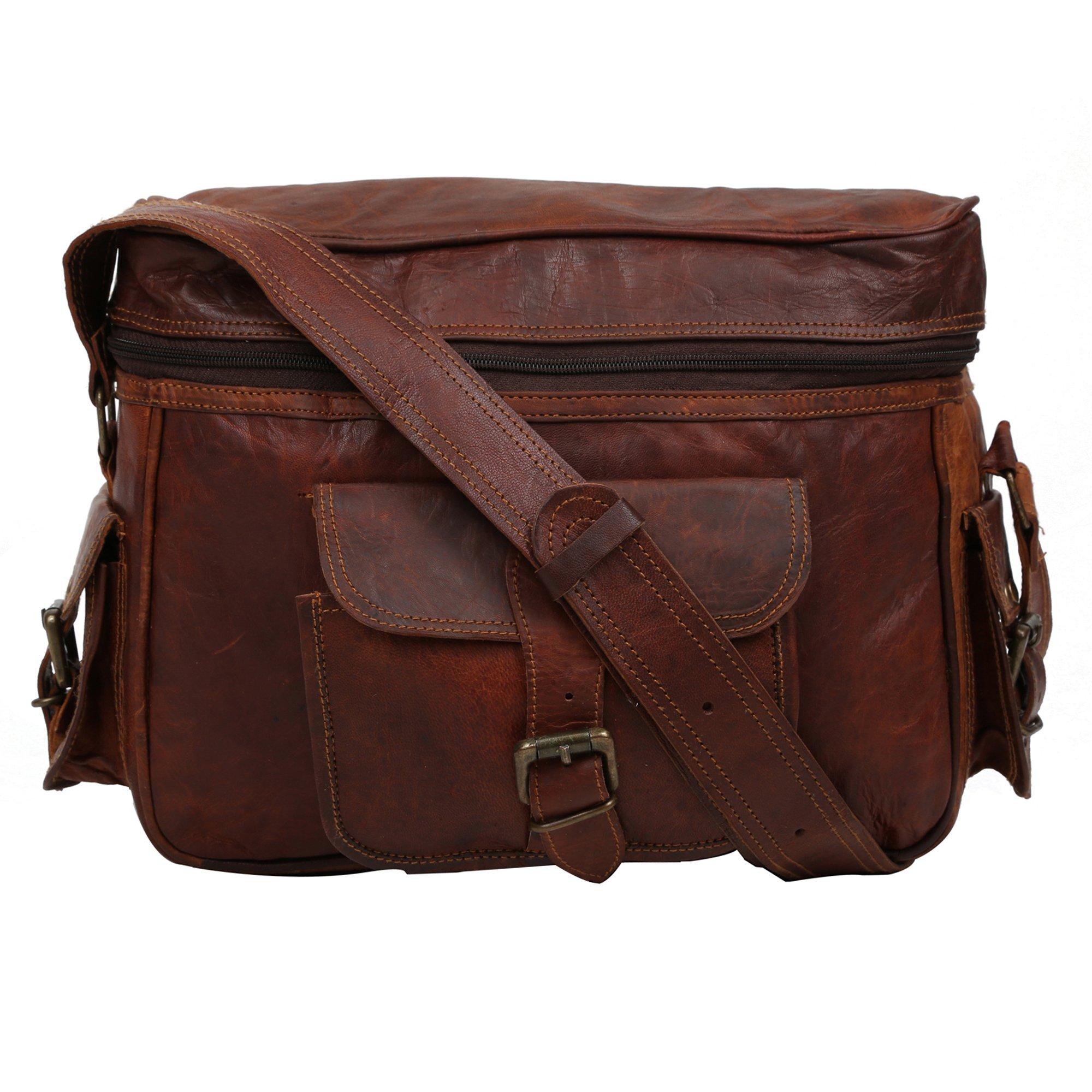 Handcraft ''Headey'' Vintage & Rustic Look Genuine Leather Dark Brown Zip Closer Soft Cushion DSLR SLR Best Seller Camera Messenger Bag