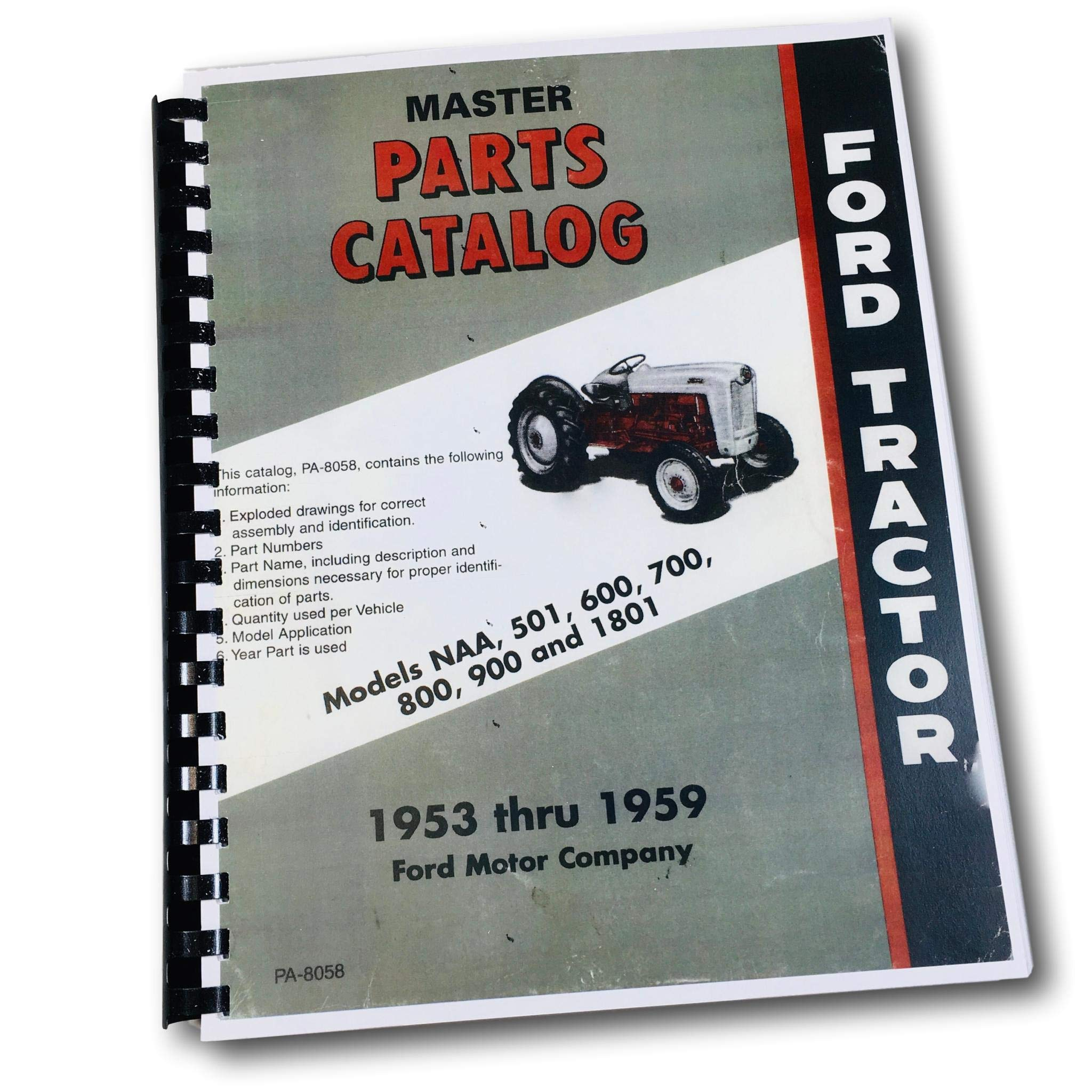 FORD 501 600 700 800 900 1800 NAA & GOLDEN JUBILEE FARM TRACTOR FACTORY  MASTER PARTS CATALOG - MANUAL - 1953 1954 1955 1956 1957 1958 1959: FORD  MOTORS ...