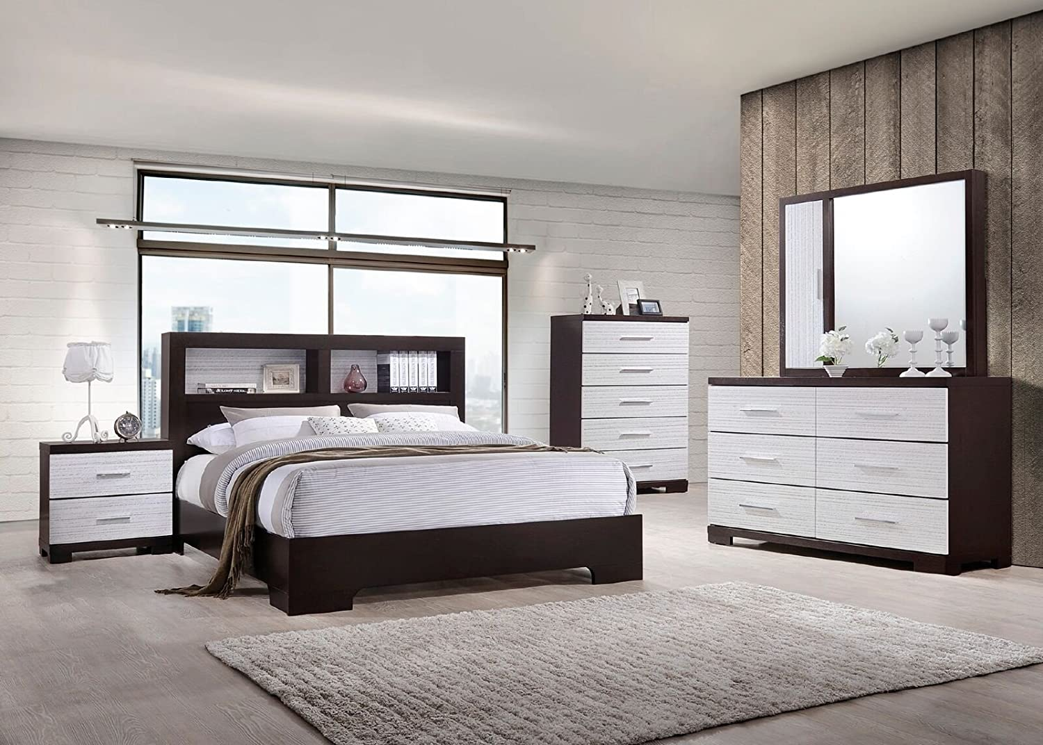 Amazon Com Classic Bedroom Furniture White Dark Brown Eastern King Size Bed 4pc Set Modern Dresser Mirror Nightstand Bedframe W Shelf Hb Kitchen Dining,Colours That Go With Purple In A Bedroom