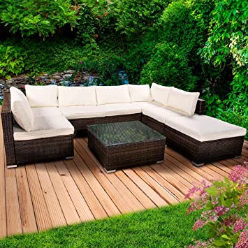 Amazon.de: Poly Rattan Lounge Set Sunshine Braun Gartenmöbel ...