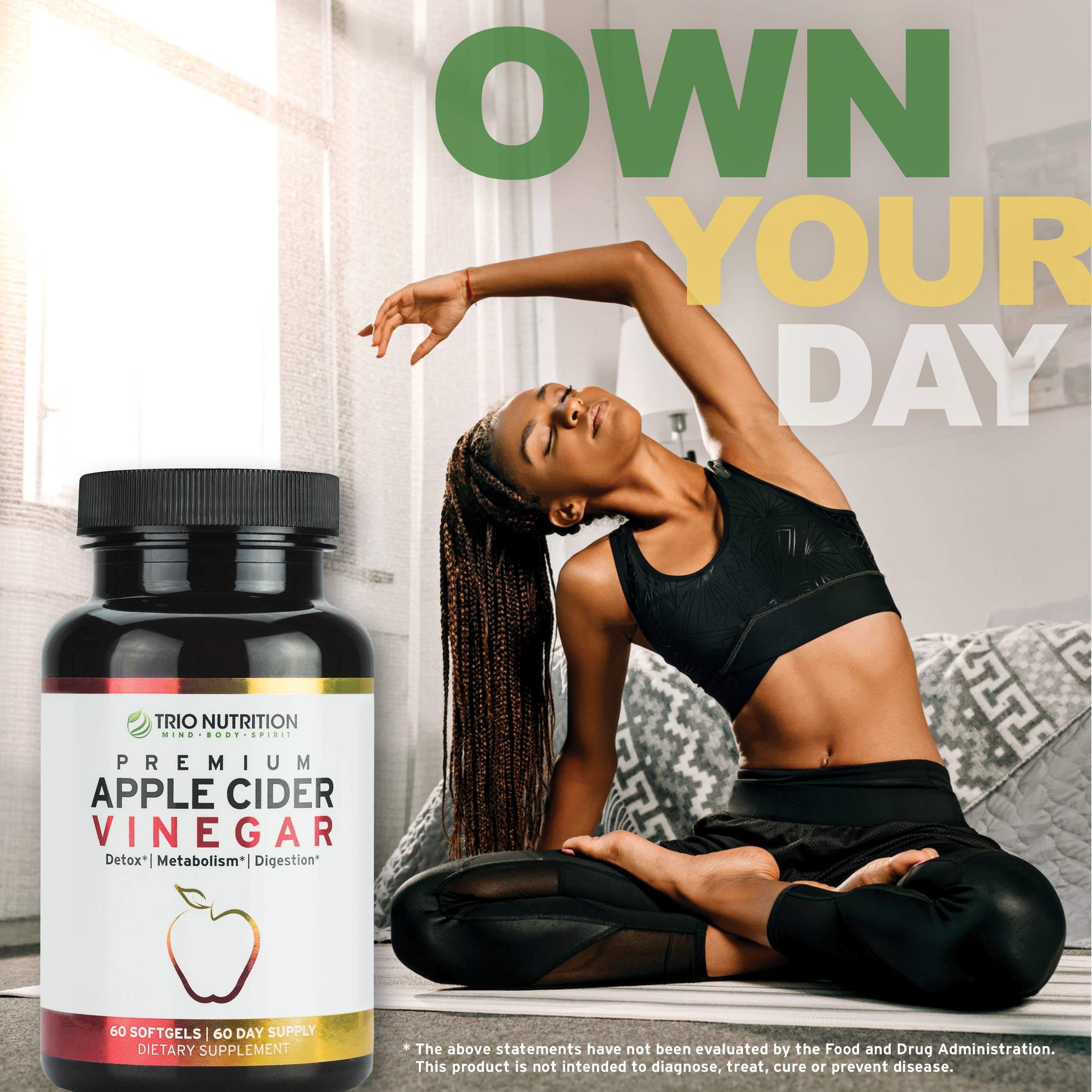Apple Cider Vinegar Capsules Softgels with Cayenne, Lemon, Honey, 520mg Detox Cleanse Drink-in-a-Pill * by TRIO NUTRITION MIND BODY SPIRIT (Image #8)
