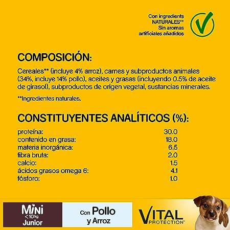 Pedigree Pienso para Perros Junior Mini, Sabor Pollo y Arroz (Pack de 6 x 1,4kg)