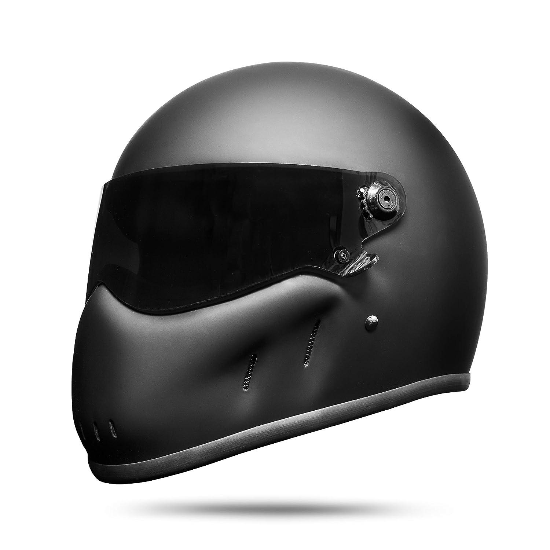 ATO Moto Night Fighter Helm Motorradhelm Integralhelm Schutzhelm Schwarz Matt Wei/ß S M L XL L 59cm - 60cm