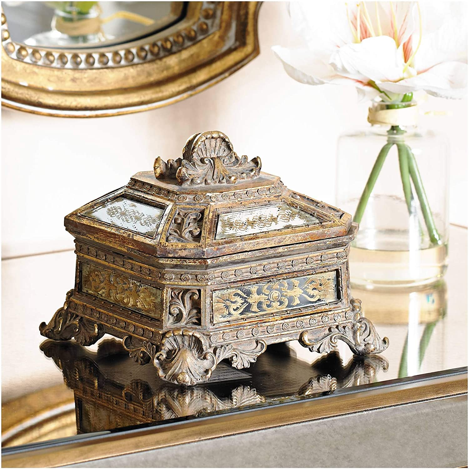 """Universal Lighting and Decor Florentine 5 3/4"""" Wide Antique Gold Mirrored Jewelry Box - Kensington Hill"""