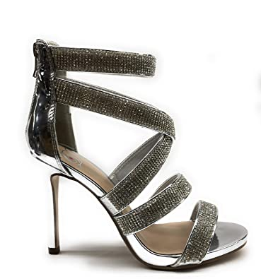 22303e0856f Womens JDDEWDROP Rhinestone Strappy Stiletto Heel Open Round Toe Sandal  Pumps (5.5 B(M