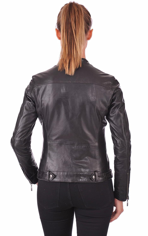 Brown ZohaCollection Women's Lambskin Bomber Biker Jacket