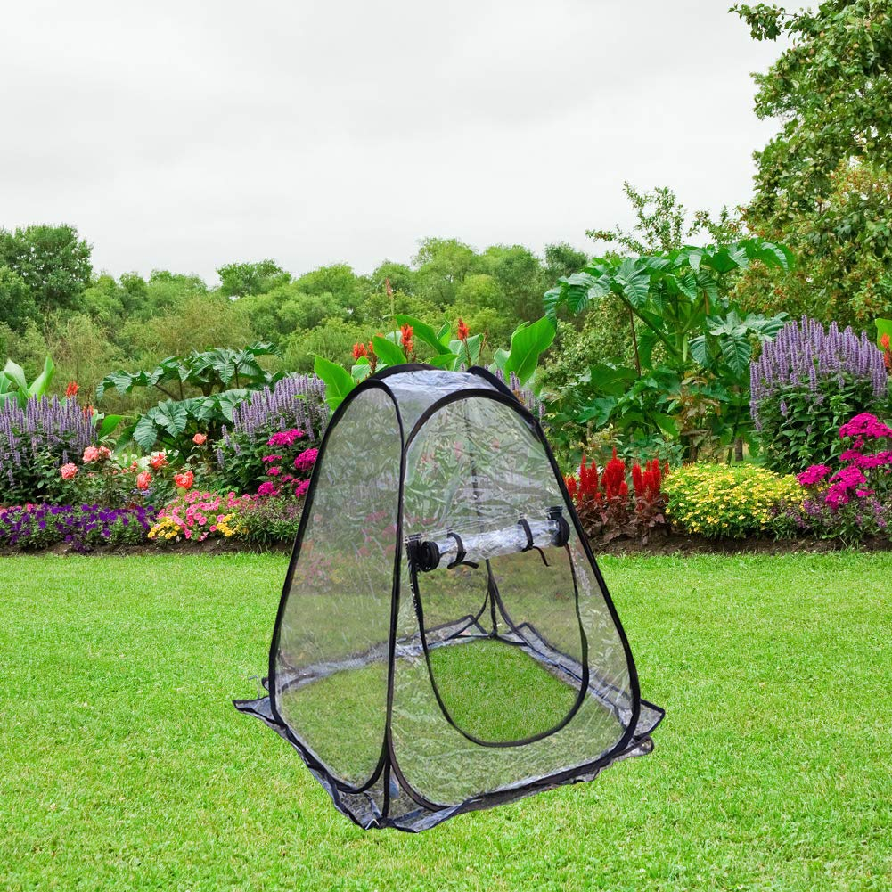 PHI VILLA Outdoor Pop Up Greenhouse-Small Flower Plant Greenhouse 27.5''x 27.5''x 31.49'' (Black)