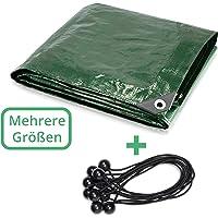 CoverUp! Lona Impermeable Exterior 4 x 4 m [200 g/m2] + 12 Bolas Bungee - Lona de protección con Ojales para Muebles de…