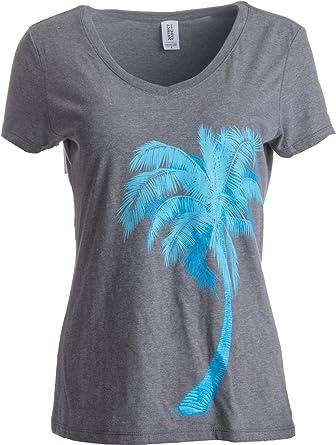 80f06ef0e82 Diseño de Estilo Tropical con Palmera - Camiseta para Mujer con Cuello en V  Vintage Peque-o Vintage Gris - Pequeno - S  Amazon.es  Ropa y accesorios
