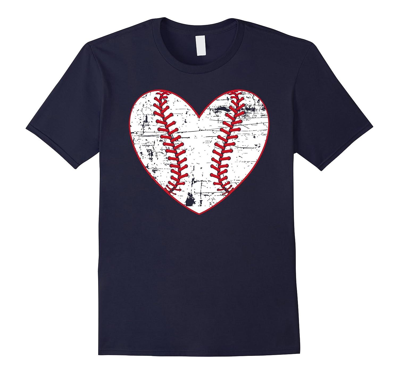 Baseball Distressed Heart T-Shirt Softball Mom Sports Gift-CD