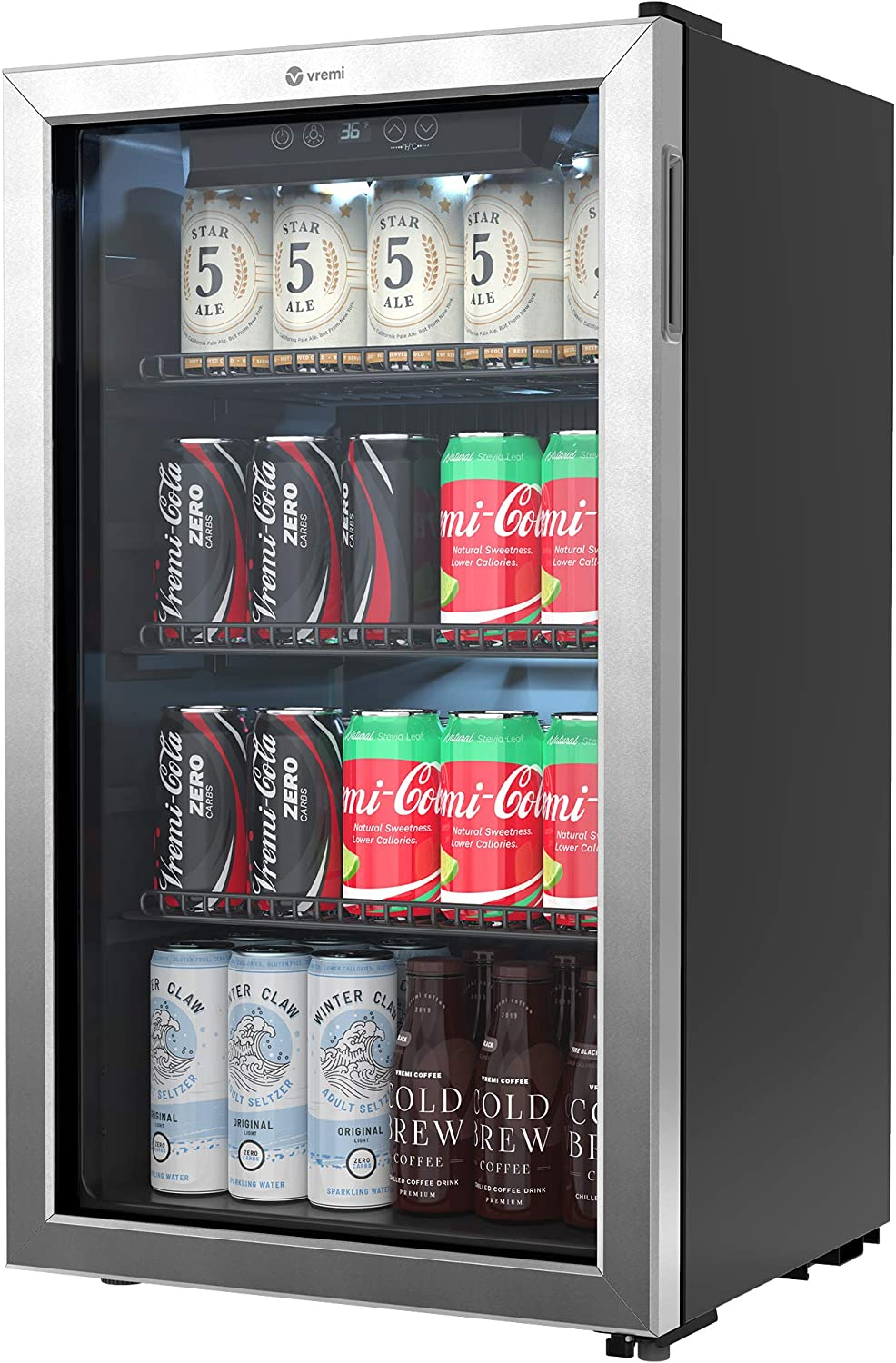 Vremi 120 Can Beverage Refrigerator - 3.2 Cubic Foot Capacity, Double Pane Glass Door, Stainless Steel Frame, LED Lighting and Digital Thermostat - Designed for Homes, Bars and Offices