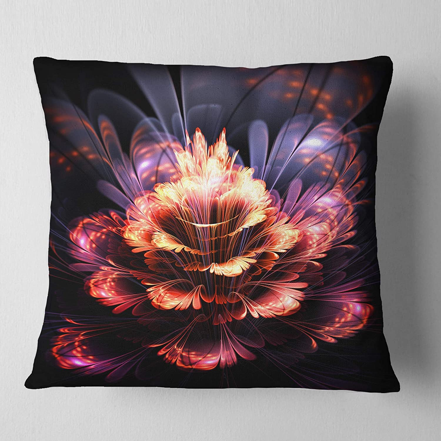 Sofa Throw Pillow 26 in Designart CU8897-26-26 Fractal Flower Orange and Purple Floral Cushion Cover for Living Room x 26 in in Insert Printed On Both Side