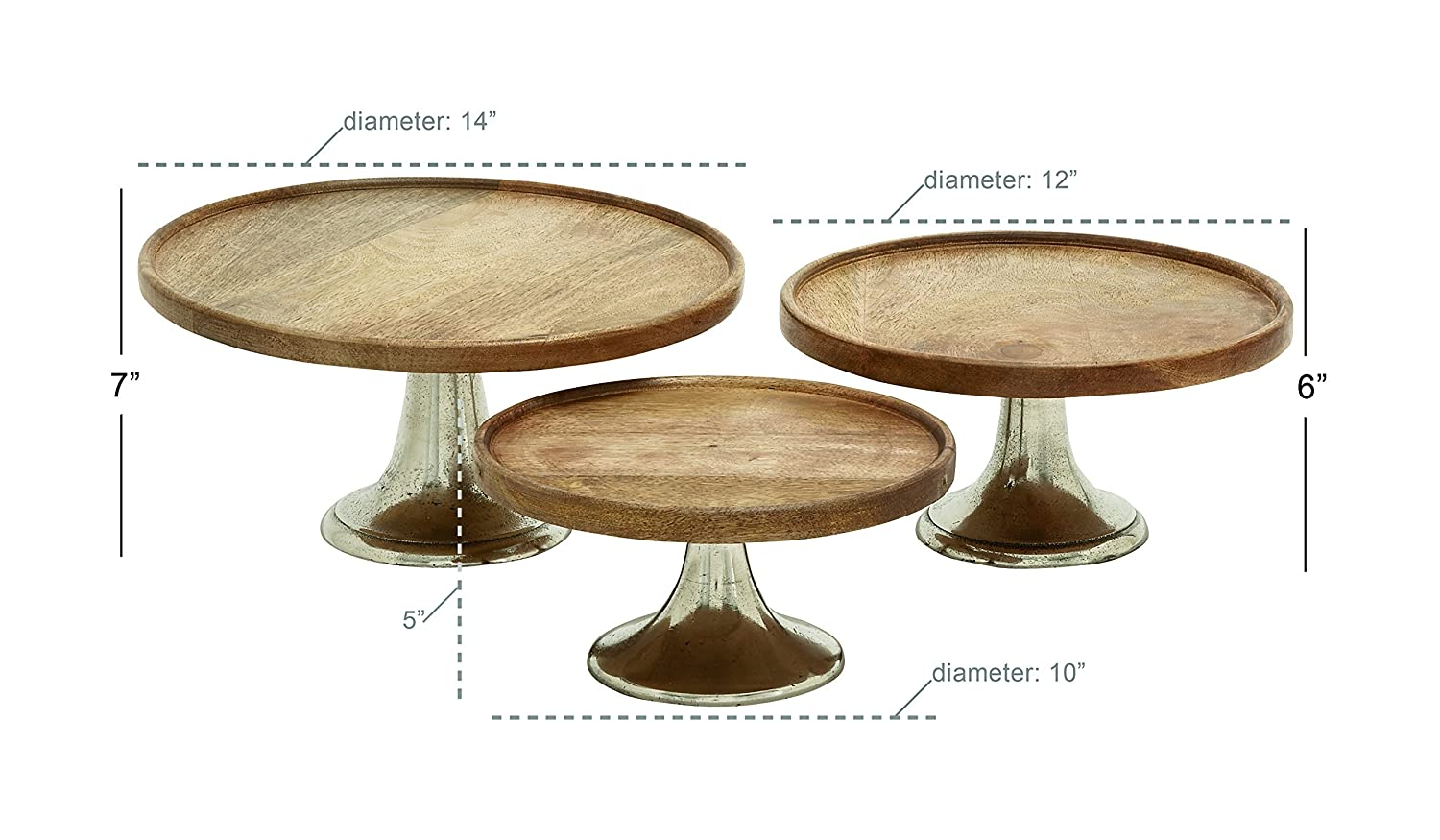 Deco 79 14668 wood aluminum cake plate set of 3 10 12 14 amazon in home kitchen