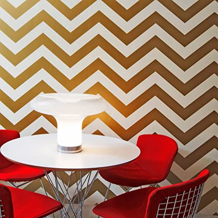 Chevron Modern Classic Metallic Gold Ivory Removable Wallpaper