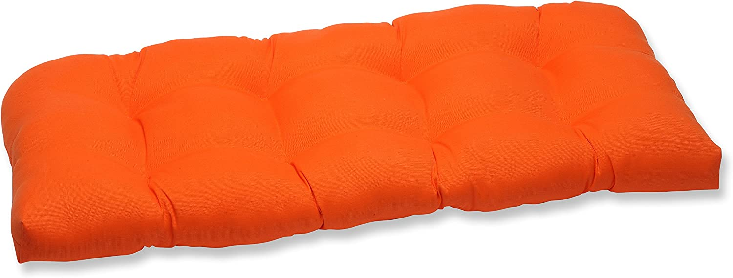 Pillow Perfect Outdoor Sundeck Wicker Loveseat Cushion, Orange