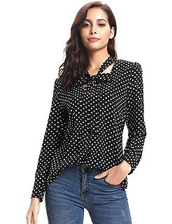 iClosam Damen Bluse Elegante Business Chiffon Langarm V-Ausschnitt Punkte Shirt  Bluse 6518055571