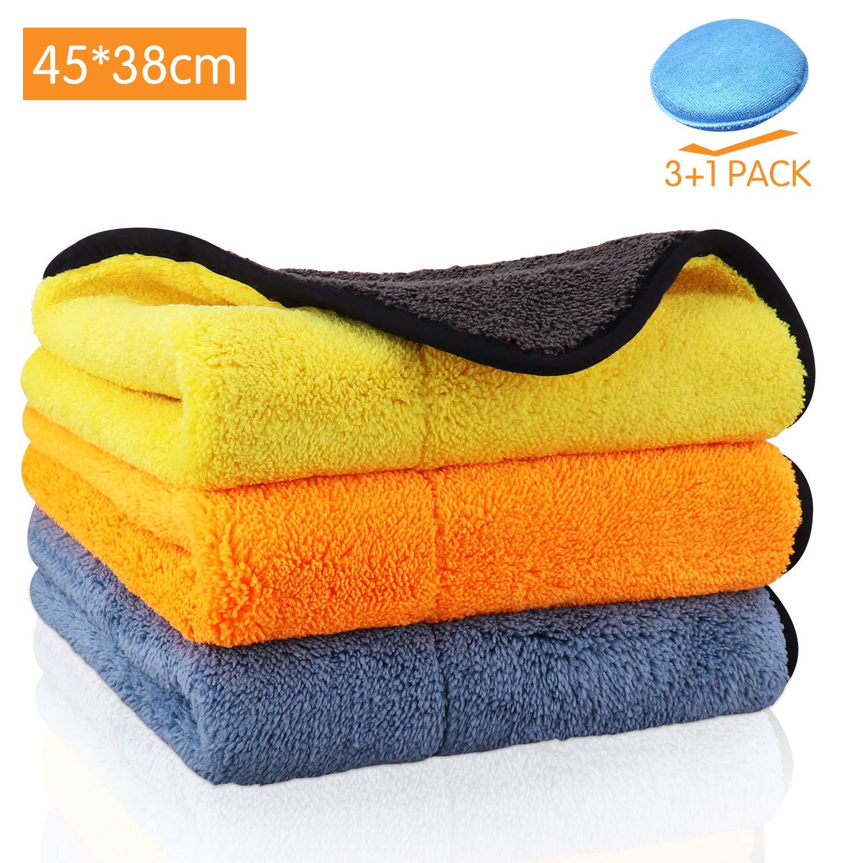Wax Sponge Serviette de nettoyage 840GSM non pelucheux double couche ultra-/épais extra-large 15 x17.7 Chiffons de nettoyage pour voiture en microfibre 3 Pack