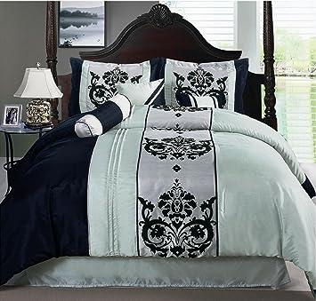 Luxury 7 Piece , Scroll Design Seafoam Green   Black   Silver Comforter  Set, .