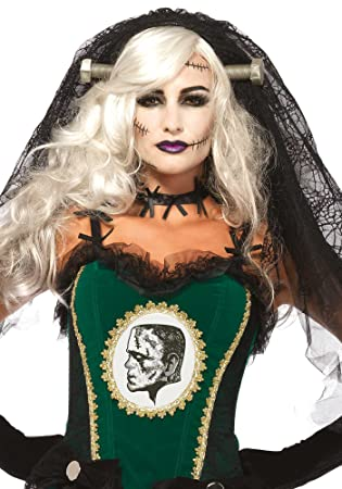 Leg Avenue A 2754 - La novia de Frankenstein de encaje velo - un tamaño, negro: Amazon.es: Juguetes y juegos