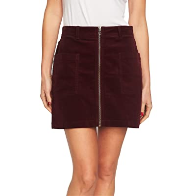 1.STATE Women's Zip-Front Mini Skirt Deep Claret 12 at Amazon Women's Clothing store