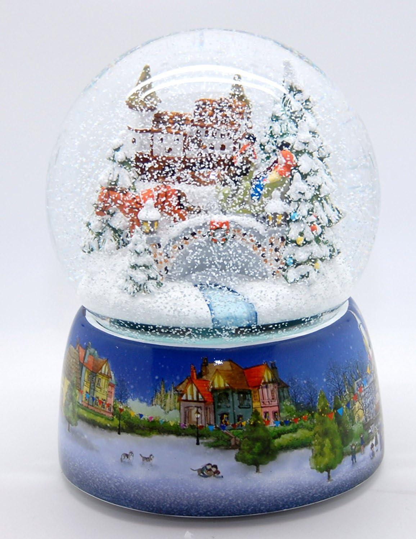 30012 Mega-Boule /á neige nostalgique promenade en tra/îneau base en porcelaine march/é de No/ël 150 mm Diam/ètre Snowmotion et bo/îte /à musique