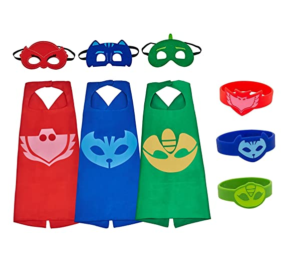 YOHEER PJ Masks Costumes, Superhero Dress up Costumes, Catboy Owlette Gekko Mask Cape with