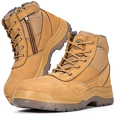 Amazon.com | ROCKROOSTER Mens Work Boots Zipper, Steel Toe, 6'' Safety Shoes, Static Dissipative, Anti-Fatigue(AK050 13) | Industrial & Construction Boots
