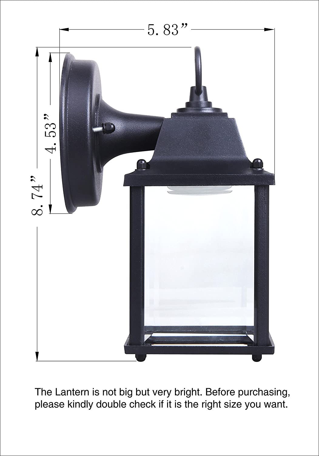 CORAMDEO 2-Pack Outdoor LED Wall Lantern 800 Lumen Aluminum Housing Plus Glass Wall Sconce 9.5W Replace 75W Traditional Lighting Fixtures ETL and Energy Star Certified Water-Proof