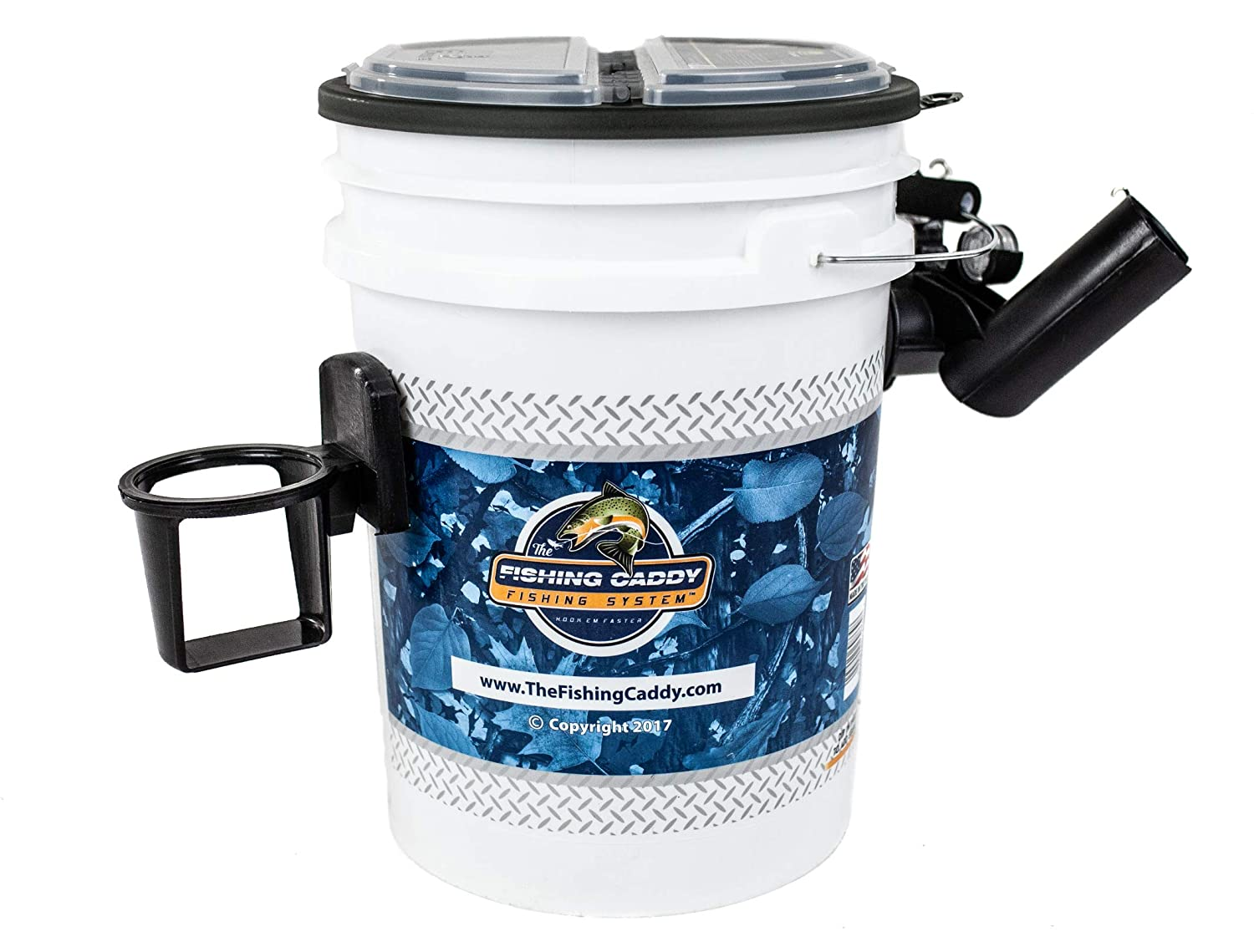 The Fishing Caddy Fishing Bucket Storage or Bait Holder w Tackle Box Lid, Dual Fishing Rod Holder, Cup Holder or Beer Holder LED Waterproof Light for Night Fishing Fisherman Gift