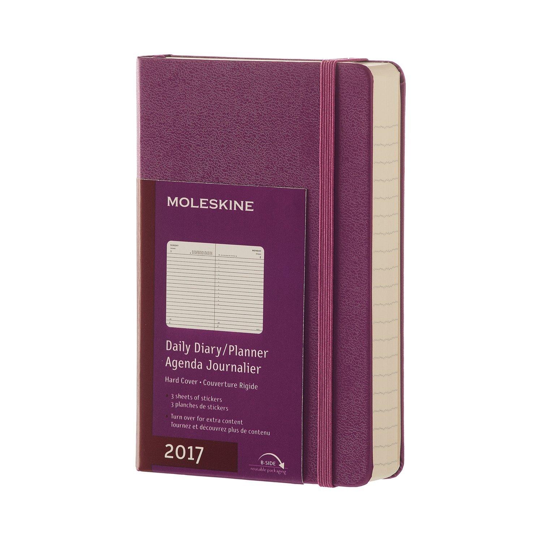 Moleskine DHH1012DC2Y17 - Agenta diaria 12 meses, pocket 9 x 14, color morado