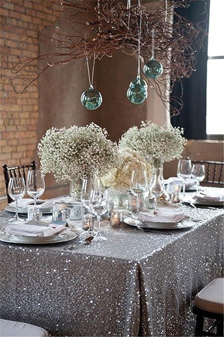 Silver Sequin Tablecloth, Silverwedding Tablecloth, Silver Glitter  Tablecloth, Silver Sparklytablecloth,(48