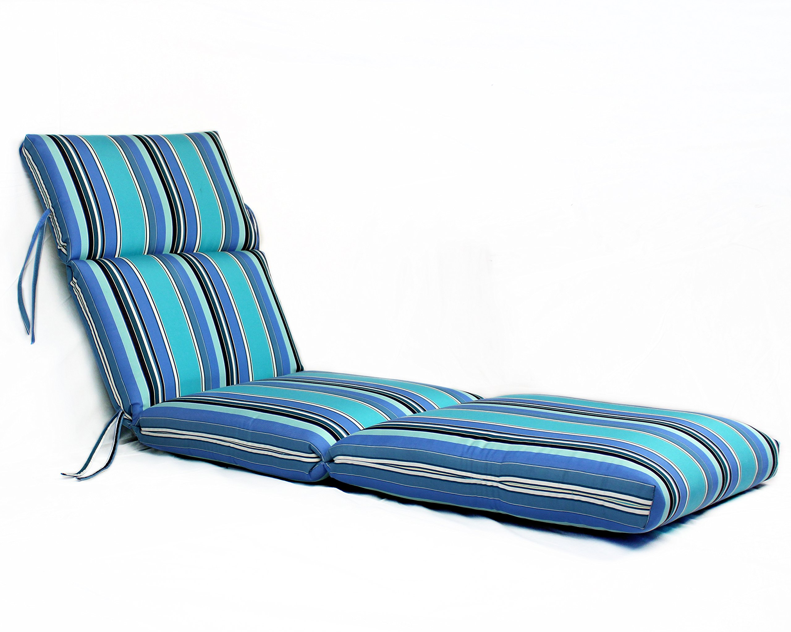 Comfort Classics Inc. 22W x 72L x 5H Hinge at 26'' Sunbrella Outdoor CHANNELED CHAISE CUSHION in Dolce Oasis Made in USA.