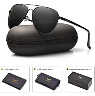 e197d4f2c2 LUENX Men Women Aviator Sunglasses Black Polarized Metal Frame UV 400 60MM