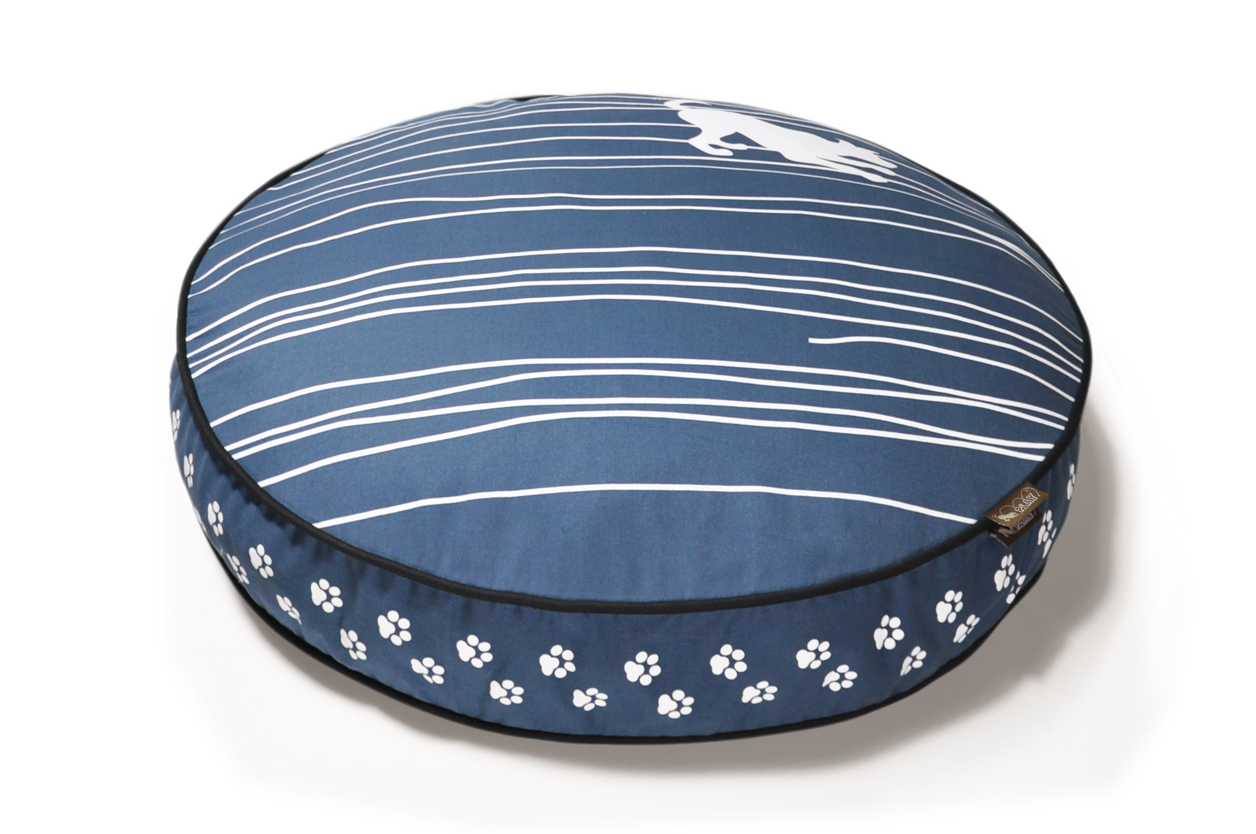 P.L.A.Y. Round Bed with Eco-Friendly Filler and 100-Percent Cotton Cover, Small, Blue/Dog on Wire